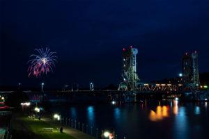 Fireworks over the portage lake lift bridge