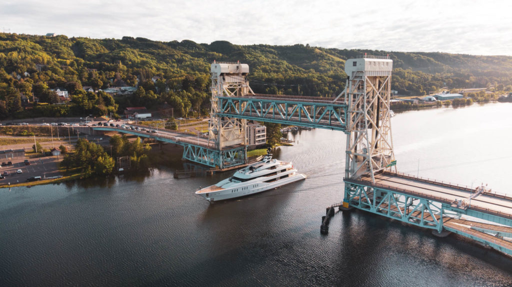 Aerial Photography of Portage Lake Lift Bridge and Yacht