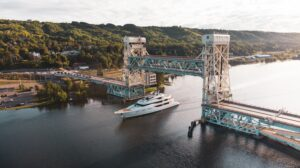 Aerial Photography of a Yacht under the Portage Lake Lift Bridge