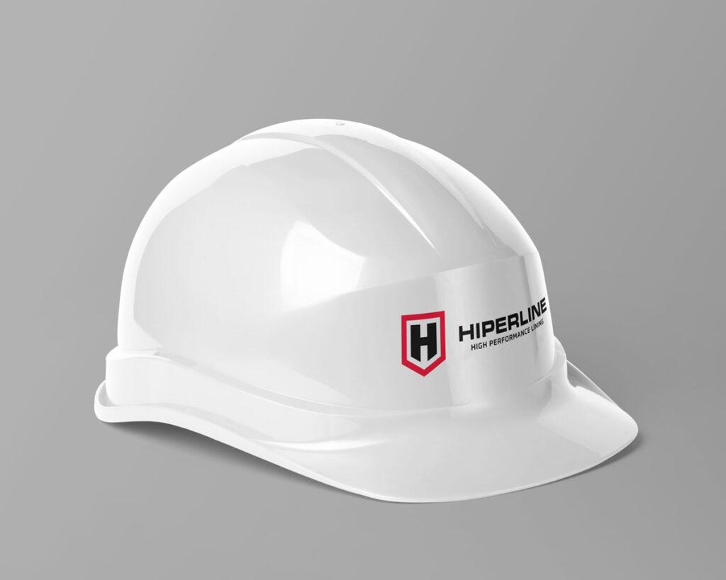 White construction helmet with Hiperline Logo