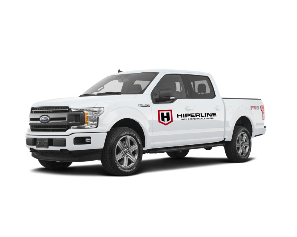 White Ford F-150 with Hiperline Logo